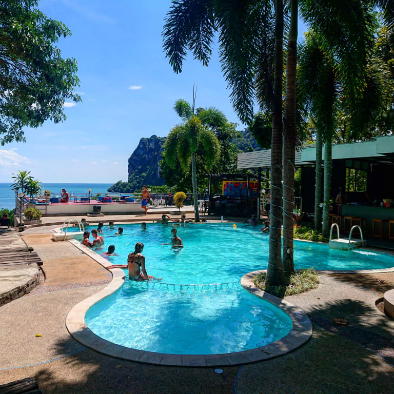 Pool area of Blanco Hideout Railay Hostel at Railay beach, Krabi
