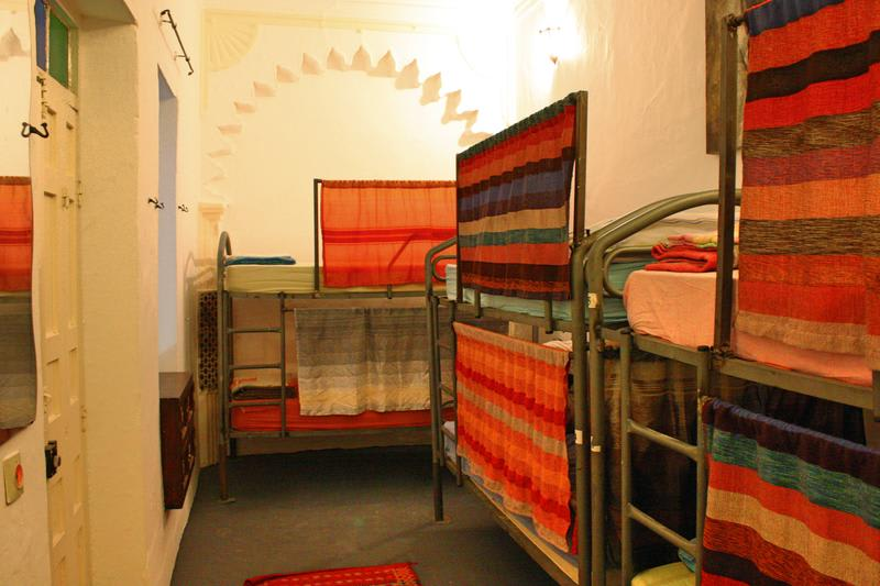 A picture of one of the dormitory rooms at the Melting Pot hostel in Tangier, Morocco.