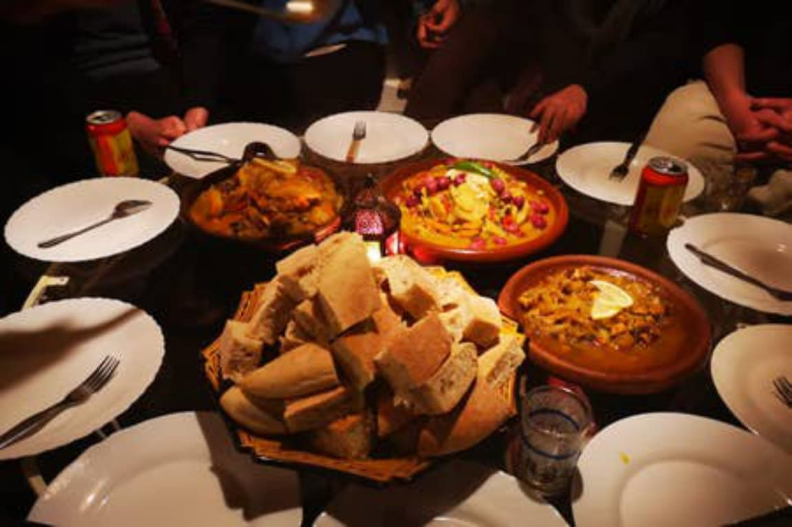 The Dinner Club at The Melting Pot Hostel Tangier, Morocco. Tagine night, a local favourite.