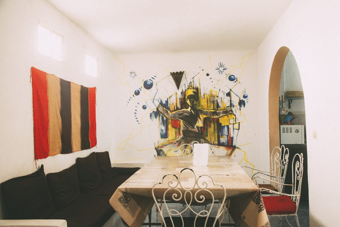 The breakfast area of The Melting Pot Hostel in Tangier, Morocco.